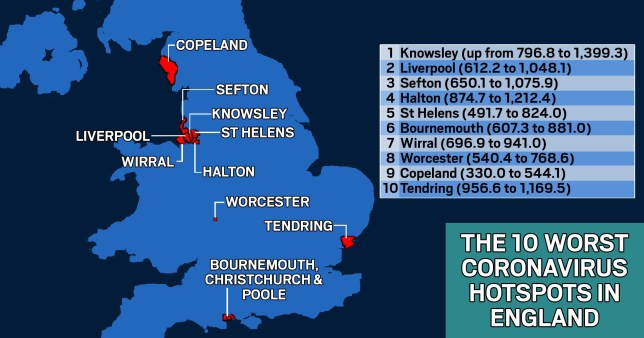 Worst 10 Covid hotspots revealed Picture: Metro.co.uk