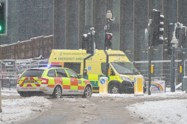 Very snowy conditions around Leeds General Infirmary, West Yorks., January 14 2021.