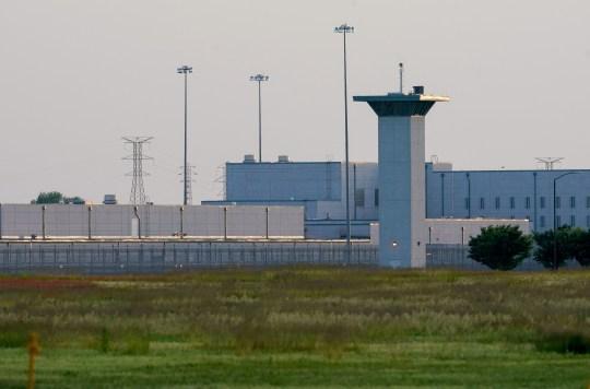 Sun setting over US prison