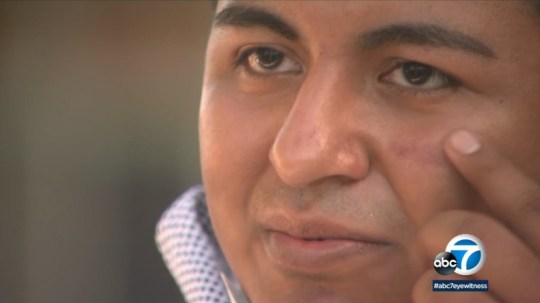 Cal State Fullerton student Joseph Munoz was attacked by a jogger on campus (Picture: ABC 7)