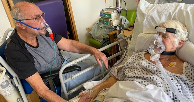 Gerry and Barbara Jarret comforting each other in hospital. Frimley Park Hospital helped Gerry Jarret spend some time with Barbara who looks to be 'at the end'.