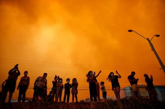 Les résidents regardent une forêt se rapprocher pour la première fois à Quilpue, au Chili, en fin d'après-midi le vendredi 15 janvier 2021. Des milliers de personnes ont été invitées à évacuer après que six maisons et 120 hectares (environ 296 acres) aient brûlé depuis le début de l'incendie la nuit précédente. , selon CONAF, la Société nationale des forêts du Chili.  (Andres Pina / Aton Chili via AP)