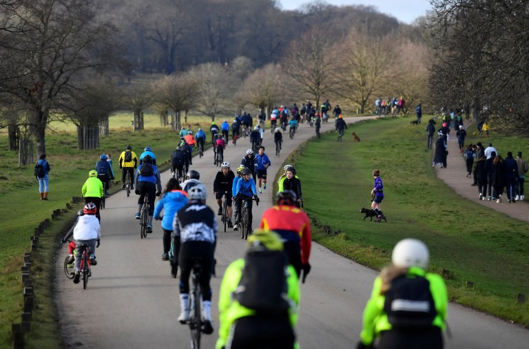 People take permitted exercise, during current lockdown restrictions, amid the spread of the coronavirus disease (COVID-19) pandemic, in Richmond Park, London, Britain, January 17, 2021. REUTERS/Toby Melville
