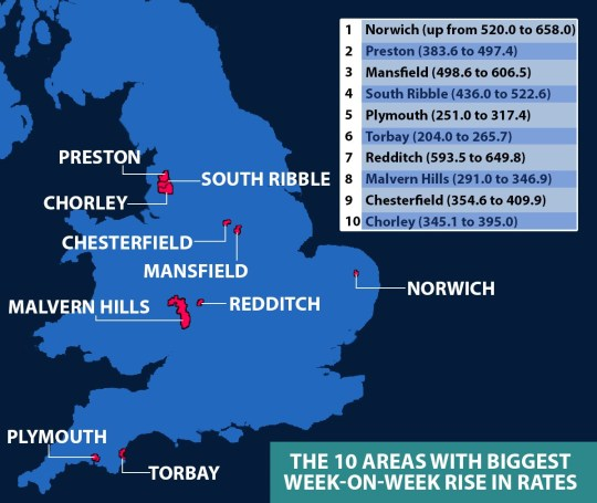 The 10 areas with the biggest week-on-week rise in rates. Based on Public Health England data published on January 17