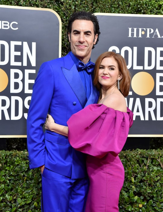Sacha Baron Cohen and Isla Fisher attend the 77th Annual Golden Globe Awards at The Beverly Hilton Hotel on January 05, 2020 in Beverly Hills, California.