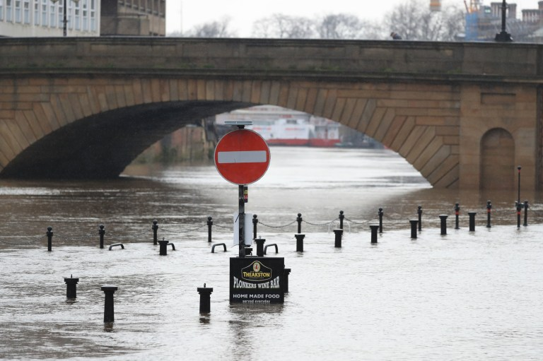 Flood water in York as Storm Christoph is set to bring widespread flooding, gales and snow to parts of the UK. Heavy rain is expected to hit the UK overnight on Tuesday, with the Met Office warning homes and businesses are likely to be flooded, causing damage to some buildings. Picture date: Tuesday January 19, 2021. PA Photo. People are being urged to prepare as an amber weather warning for rain was issued for Tuesday to Thursday affecting an area around Manchester, Leeds and Sheffield and stretching down to Peterborough. Photo credit should read: Danny Lawson/PA Wire