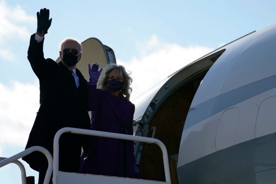 Joe Biden and wife Jill board a plane