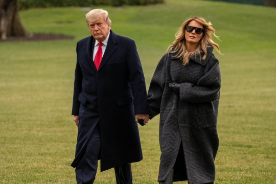 Mandatory Credit: Photo by KEN CEDENO/UPI/REX (11675686c) President Donald J. Trump and First Lady Melania Trump return early on Marine One from their Florida vacation, on the South Lawn of the White House Trump Returns to White House Cutting Short His Vacation, Washington DC, USA - 31 Dec 2020