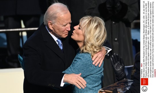 12345678 Mandatory Credit: Photo by REX (11719063a) US President Joe Biden kisses incoming US First Lady Jill Biden after being sworn in as the 46th US President, at the US Capitol in Washington, DC. - Biden, a 78-year-old former vice president and longtime senator, takes the oath of office at noon (1700 GMT) on the US Capitol's western front, the very spot where pro-Trump rioters clashed with police two weeks ago before storming Congress in a deadly insurrection. Biden Sworn-in as 46th President of the United States, Washington, DC, USA - 20 Jan 2021