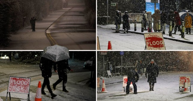 Composite image snow in Manchester following flooding caused by Storm Christoph