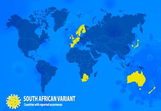 Pays avec des cas signalés de variante sud-africaine, 501Y.v2 ou B1351 (Photo: GISAID / Metro.co.uk)