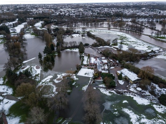 Didsbury Golf club sit in the middle of flood water next to the River Mersey, as a flood alert and danger to life has been issued, 2000 residents have been asked to evacuate due to the flood risk. January 21 2021