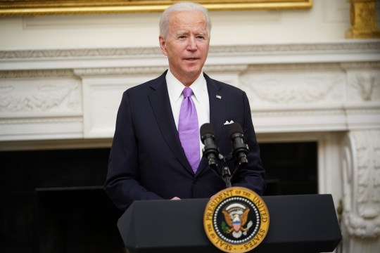 US President Joe Biden speaks about the Covid-19 response before signing executive orders in the State Dining Room of the White House in Washington, DC, on January 21, 2021. (Photo by MANDEL NGAN / AFP) (Photo by MANDEL NGAN/AFP via Getty Images)