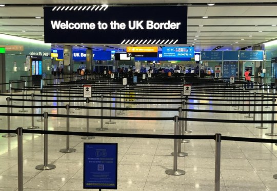 A UK border sign welcomes passengers on arrival at Heathrow airport