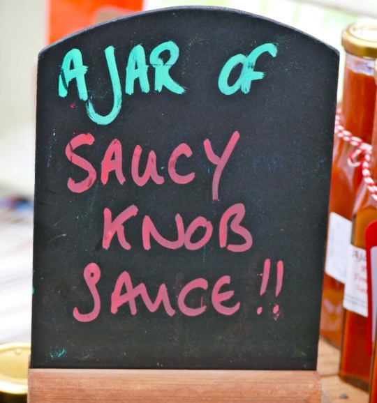 Mandatory Credit: Photo by Geoffrey Swaine/REX (4743568a) A Jar of saucy knob sauce on sale Dorset Knob Throwing Championships, Cattistock, Dorset, Britain - 03 May 2015