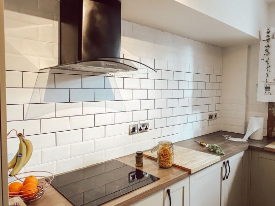 white tiles with black grout