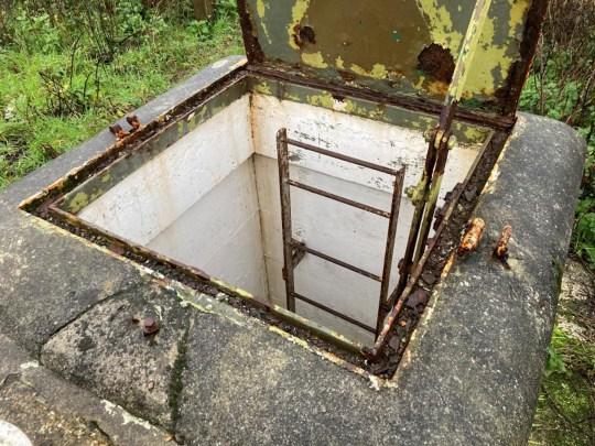 underground bunker in cornwall - ladder down the hatch