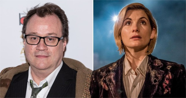 Russell T Davies and Jodie Whittaker in Doctor Who