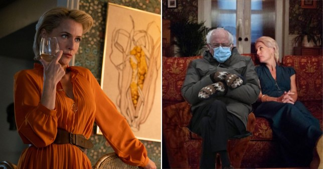 Gillian Anderson in Sex Education and Bernie Sanders
