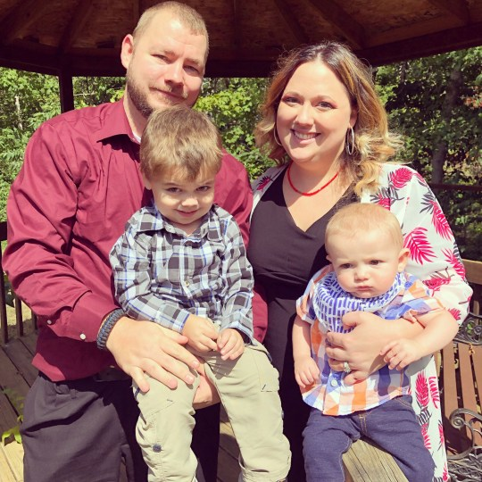 PIC FROM Kennedy News and Media (PICTURED: L-R AJ HUFF, 34, MICHAEL HUFF, FOUR, JACKIE HUFF, 35, AND 23-MONTH-OLD JOHNATHAN HUFF) A toddler bled to death after swallowing the tiny BATTERY from a remote control that burned through his organs - as his paramedic parents battled to save his life and his brother watched on. Johnathan Huff, who was 23 months old, ingested a button battery that spent four days burning through his oesophagus, intestines and aorta causing catastrophic bleeding. The fire truck-loving tot, who was affectionately known as Nugget, died on December 20th just four days after eating the disposable battery without his parents noticing. DISCLAIMER: While Kennedy News and Media uses its best endeavours to establish the copyright and authenticity of all pictures supplied, it accepts no liability for any damage, loss or legal action caused by the use of images supplied and the publication of images is solely at your discretion. SEE KENNEDY NEWS COPY - 0161 697 4266