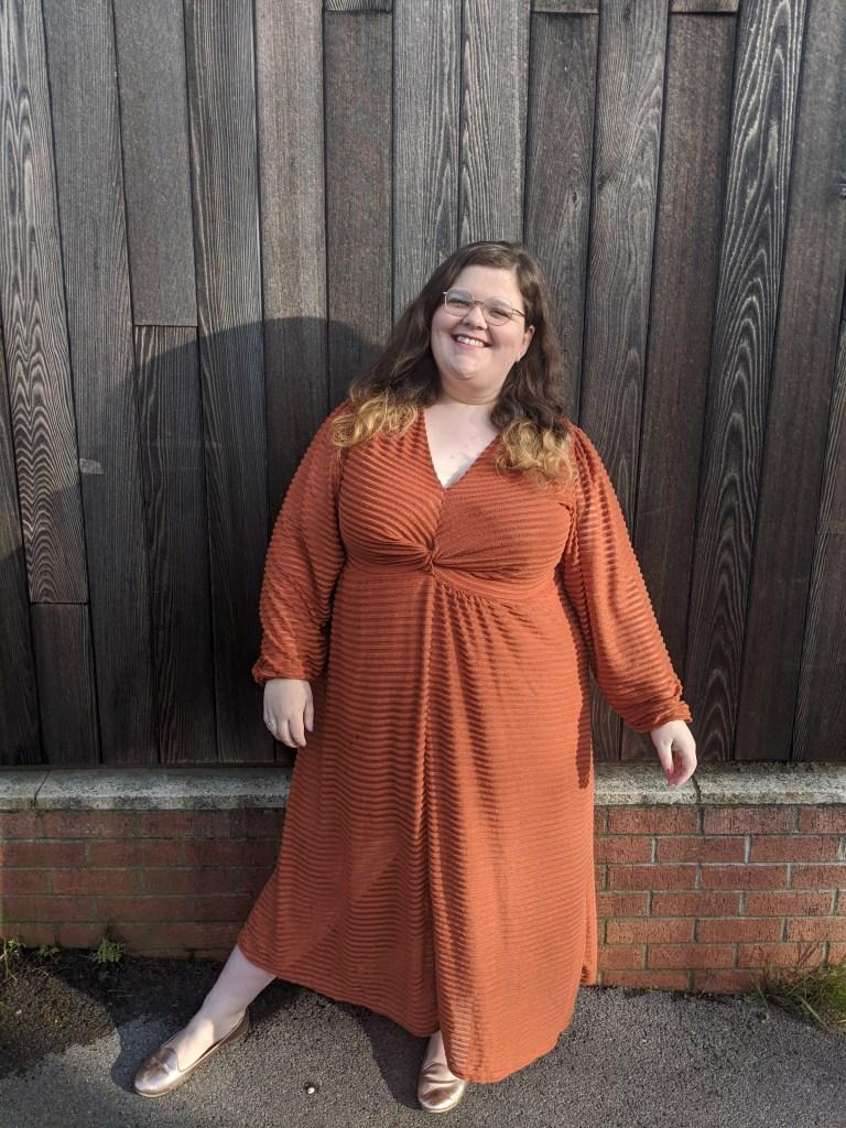 Polly Harrison wearing a maxi dress