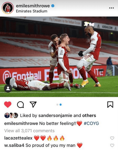 Emile Smith Rowe received a lovely message from William Saliba on Instagram
