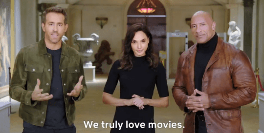 Ryan Reynolds, Gal Gadot and Dwayne Johnson in Netflix 2021 promo