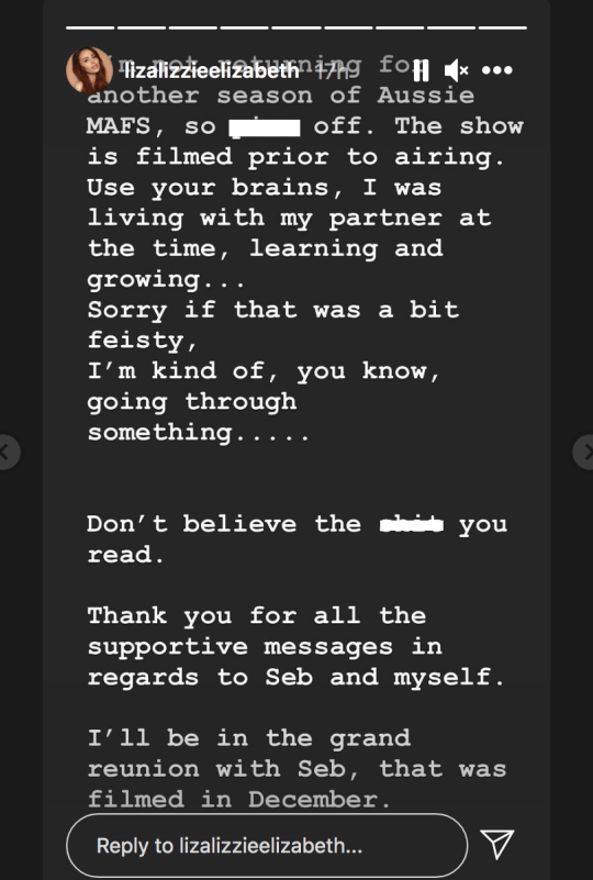 Elizabeth Sobinoff statement on returning to MAFS Australia on Instagram