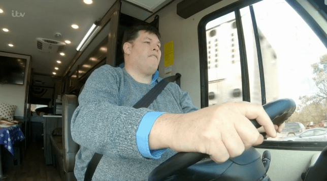 Mark Labbett driving winnebago on The Chasers Road Trip, ITV