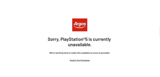 Argos PS5 out of stock
