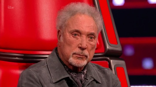 Sir Tom Jones on The Voice UK during Stevie Wonder message
