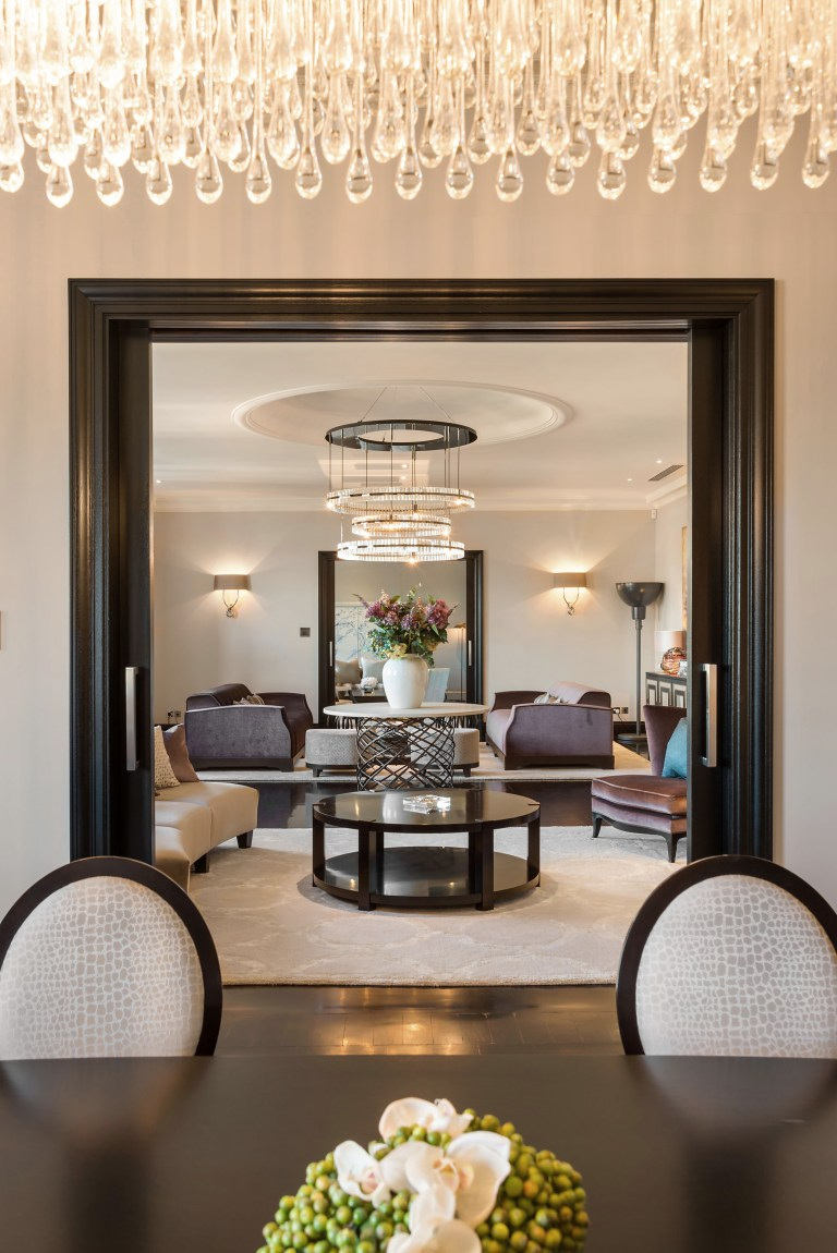 chandelier in dining room of trevor square apartment