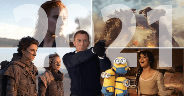 collage of films coming out in 2021: Black Widow, godzilla, cinderella, Minions, James Bond, Dune