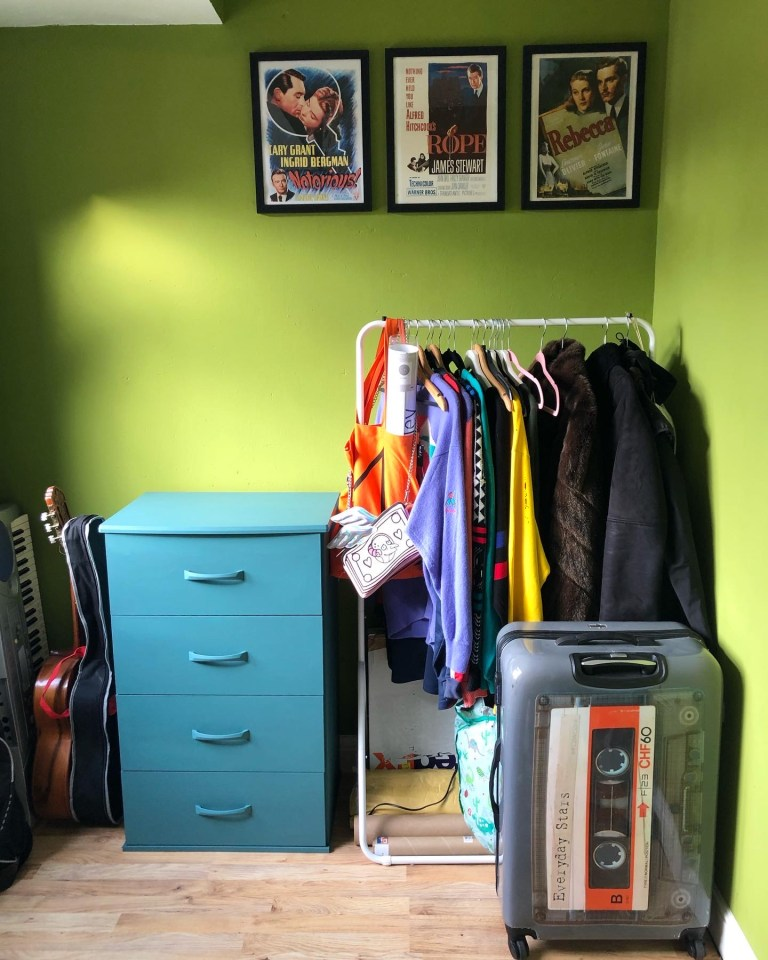 What I Rent: Iona and Jack, Oldham, Manchester - clothes rail, guitar, suitcase, artwork
