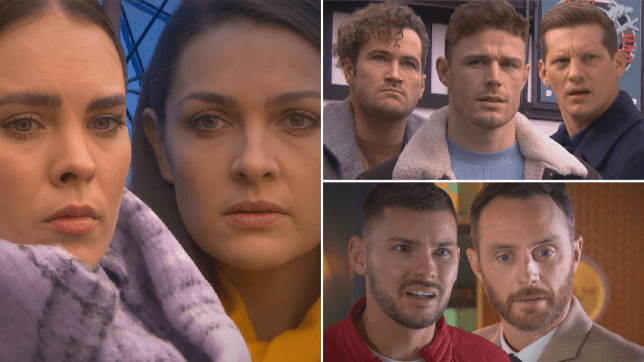 Liberty, Sienna, Dean, George, John Paul, Ste and James in Hollyoaks