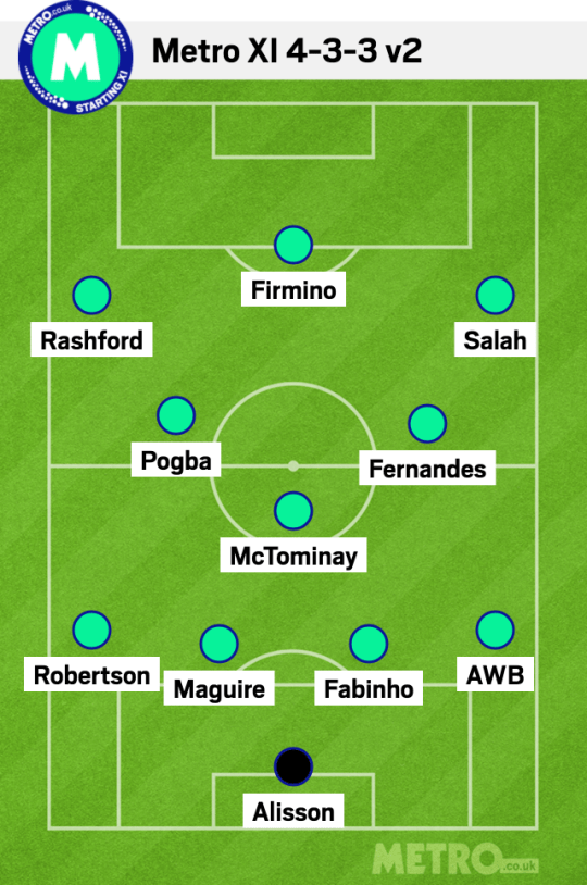 Manchester United and Liverpool combined XI.