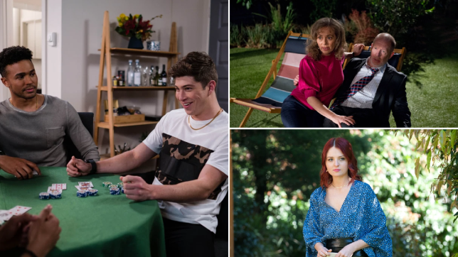 Jay and Hendrix, Jane and Clive, and Nicolette in Neighbours