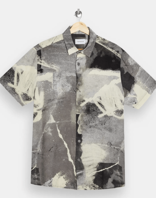 a topman concrete grey print short sleeve shirt