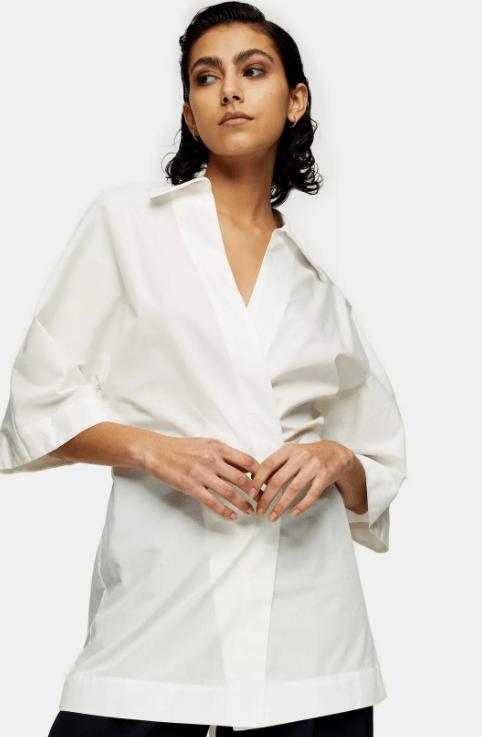 white poplin wrap shirt by topshop