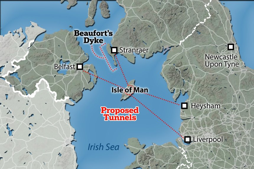 'Douglas Junction'. Boris Johnson is said to be planning to build a roundabout under the Isle of Man to connect Britain to Northern Ireland to smooth out post-Brexit trade.
