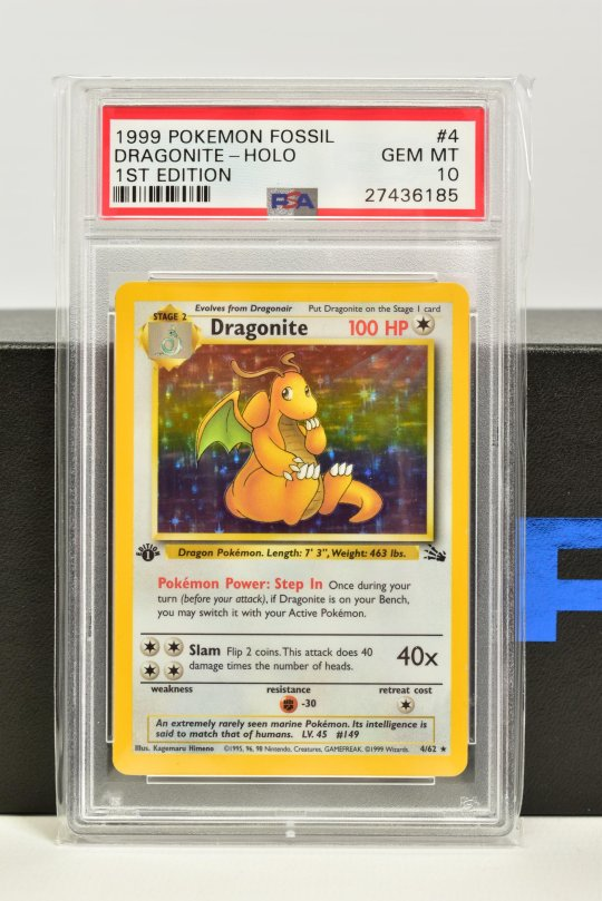 A first edition Fossil Dragonite Holo, PSA Gem Mint 10, estimated to sell for up to £5,000