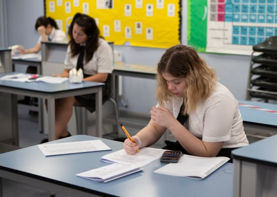 A Year 10 pupil doing her work. Ortu Gable Hall School in Corringham, Essex return after a long break due to the COVID-19 pandemic on Tuesday 16th June 2020. (Photo by Jacques Feeney/MI News/NurPhoto via Getty Images)