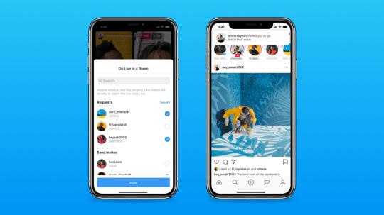 Instagram live stories shown on smart phones