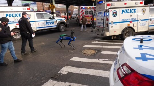 Science/9292077/Robot dog https://twitter.com/ScooterCasterNY/status/1364210648205447170 https://freedomnews.tv/2021/02/23/nypd-robot-dog-deployed-for-reported-armed-home-invasion-in-the-bronx/ February 23, 2021 THIS INFORMATION IS PRELIMINARY, INFORMATION WILL BE UPDATED February 23 2021 Bronx, New York ? At around 3 am police responded to a call regarding a home invasion. Address reported was 716 East 227 st in The Bronx . Police believe the suspect has barricaded himself inside the residence. NYPD hostage negotiaton team and TARU. According to police the incident has been going on since 3 am and that anyone in the apartment could be a suspect . Police also believe that possibly two guns involved in the home invasion . Ems official there was one hostage reported that who escaped the building at some point with possibly more people inside.