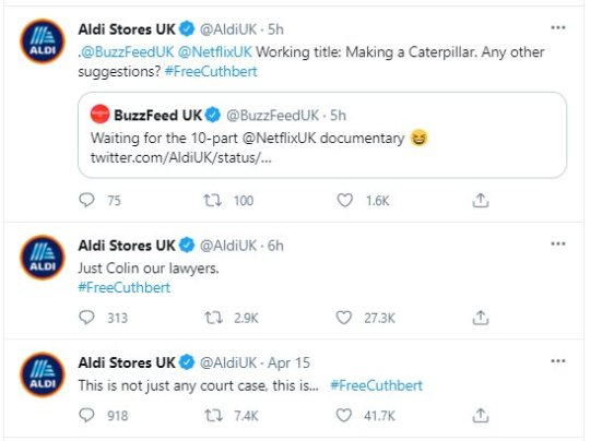 Aldi mocks M&S on Twitter over Colin the Caterpillar copyright lawsuit