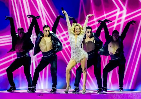 Moldova's Natalia Gordienko arrives on stage during the final of Eurovision 2021