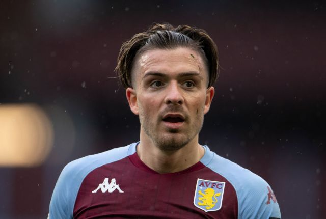Jack Grealish of Aston Villa during the Premier League match between Aston Villa and Chelsea at Villa Park on May 23, 2021 in Birmingham, England. A limited number of fans will be allowed into Premier League stadiums as Coronavirus restrictions begin to ease in the UK following the COVID-19 pandemic.