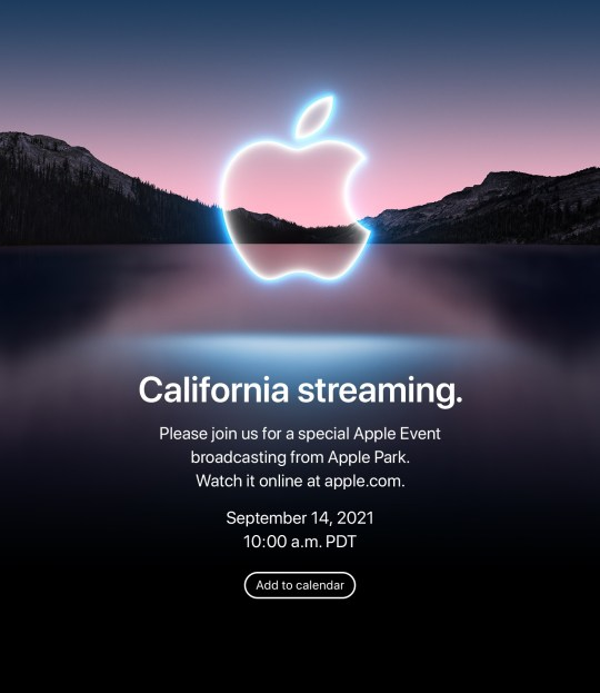 Apple's invitation to the 'California Streaming' event on September 14 (Apple)