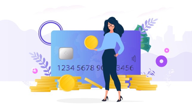Girls holds a gold coin. Mountain of coins, credit card, dollars. The concept of savings and accumulation of money.