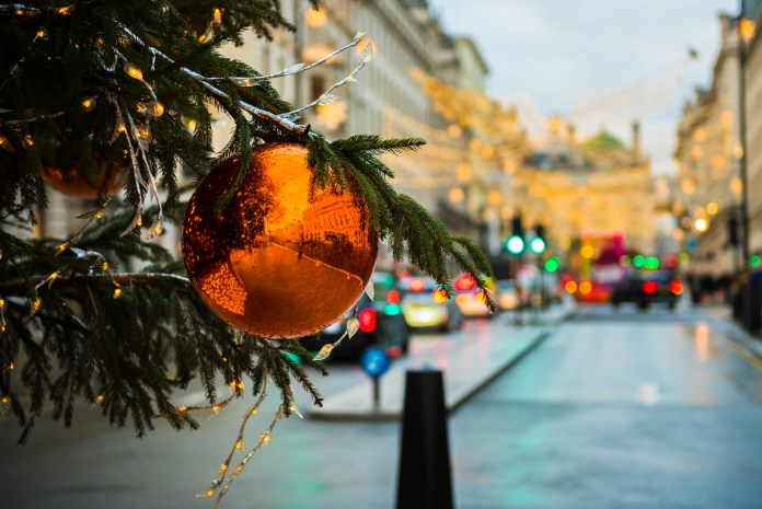 Bauble and Christmas Tree Decorations in a London City Street
